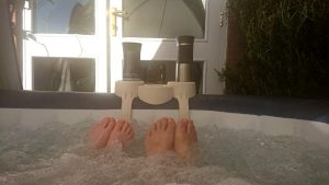 Toes in the hot tub