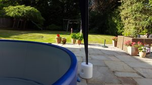 Berkhamsted Birthday Party hot tub in the garden