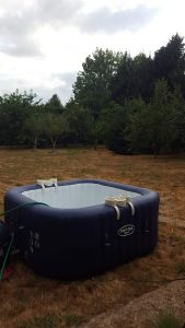 Hot tub in a big garden