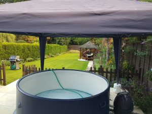 Hot tub under a gazebo