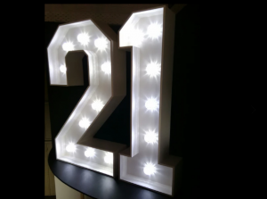 4ft LED light up numbers - 21 available to hire