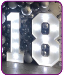 4ft high light up numbers for hire