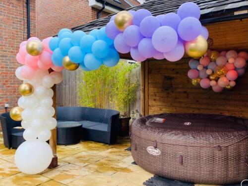 Birthday balloons hot tub